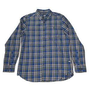The North Face Mens M Plaid Flannel Blue/Green EUC